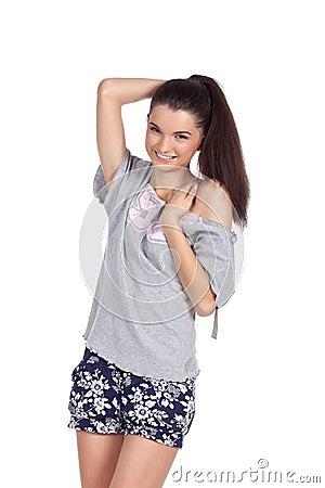 Shy fashion model smiling
