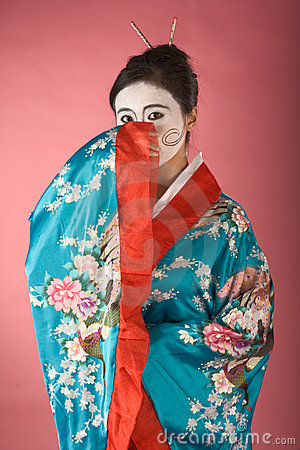 Free Shy Geisha In Yukata Stock Photo - 4539180