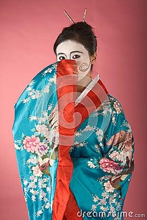 Shy Geisha in yukata