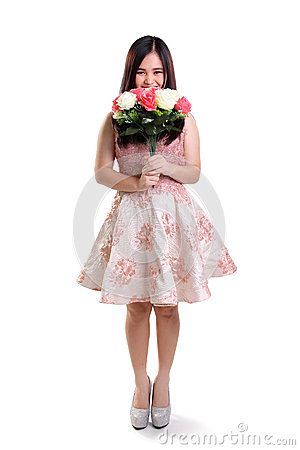 Free Shy Girl And Flower Full Length Isolated Stock Photography - 67145462