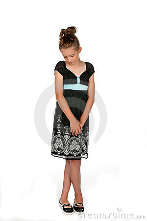 Free Shy Girl In Black Dress Royalty Free Stock Photography - 6393187