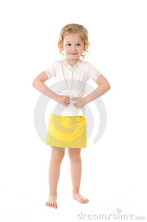 Shy little girl standing on white background