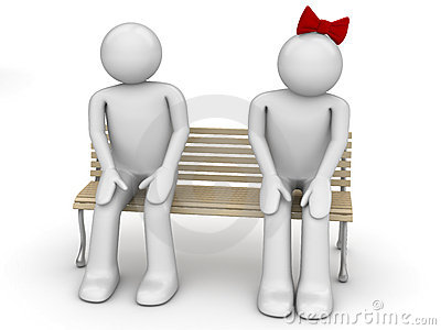 Shy man and woman on a bench