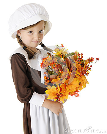 Shy Pilgrim with Bouquet