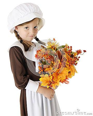 Shy Pilgrim with Bouquet