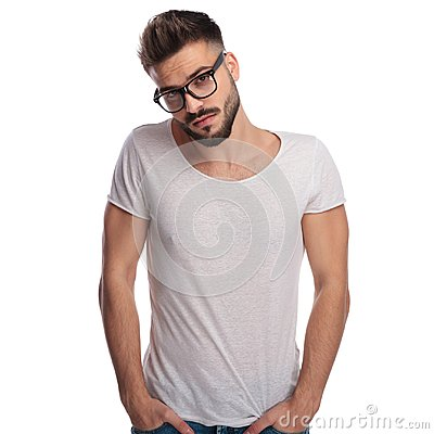 Free Shy Young Casual Man Wearing Glasses Royalty Free Stock Image - 109721066