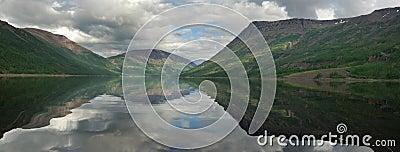 Siberia. Mirror surface of Dyupkun lake. Panorama.
