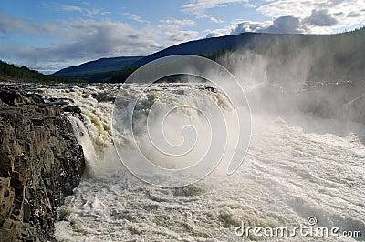 Siberia. Putorana. Powerful Big Kureika waterfall.