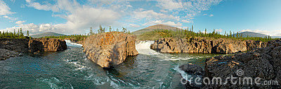 Siberia. Two waterfalls. Panorama