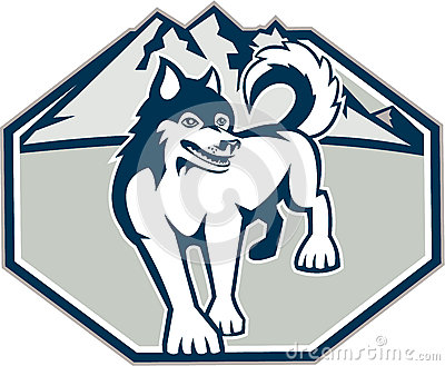 Siberian Husky Dog Mountain Retro