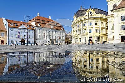 Sibiu center in Transylvania Editorial Stock Image
