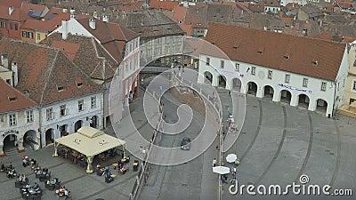 Sibiu-Lügner-Brücken-Ansicht stock footage