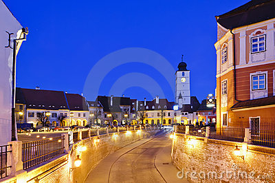 Sibiu in Romania, at night