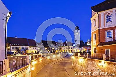 Sibiu in Romania, at night
