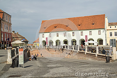 Sibiu Small Square Editorial Stock Image