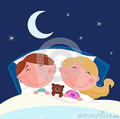 Siblings - boy and girl sleeping in bed