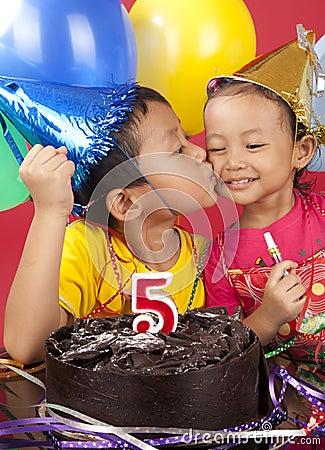 Siblings celebrating birthday
