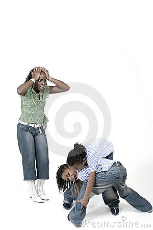 Free Siblings Fighting While Stressed Mom Watches Royalty Free Stock Images - 756259