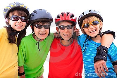 Siblings with helmets