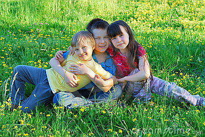 Siblings in a meadow