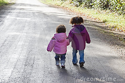 Siblings Walking