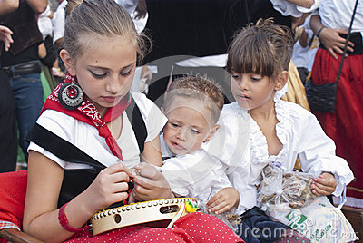 Sicilian children in traditional dress Editorial Stock Image