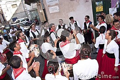 Sicilian folk group from Polizzi Generosa Editorial Stock Photo