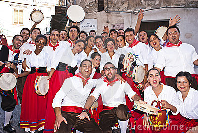 Sicilian folk group from Polizzi Generosa Editorial Stock Image