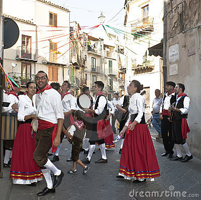 Sicilian folk group from Polizzi Generosa Editorial Photo