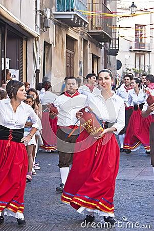Sicilian folk group from Polizzi Generosa Editorial Photo