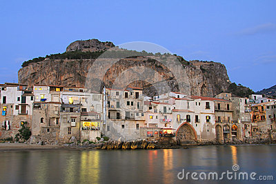 Sicilian town of Cefalu at dusk