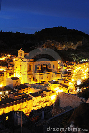 Sicilian town at night