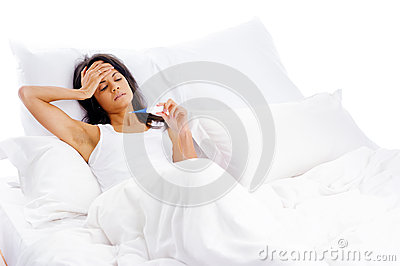 Sick bed woman