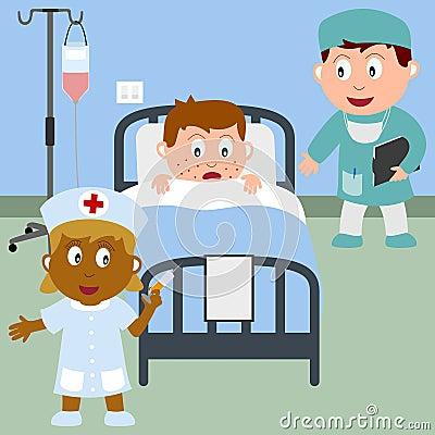 Sick Boy in a Hospital Bed Vector Illustration