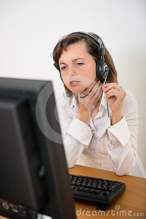Sick business person at computer