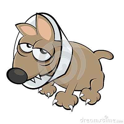 Sick cartoon dog