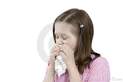 The sick child with a handkerchief