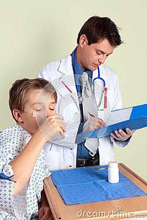 Sick child taking medicine
