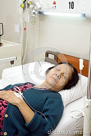 Sick elderly patient sleep in bed rest
