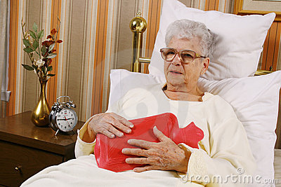 Sick elderly woman have a belly pain