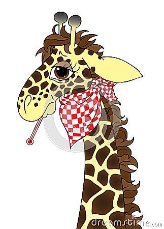 Sick giraffe cartoon