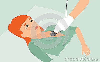 Sick girl flat illustration