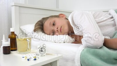 Sick kid in bed, ill child with thermometer, isolated girl in hospital, pills medicine, healthcare medical outbreak crisis.  stock video