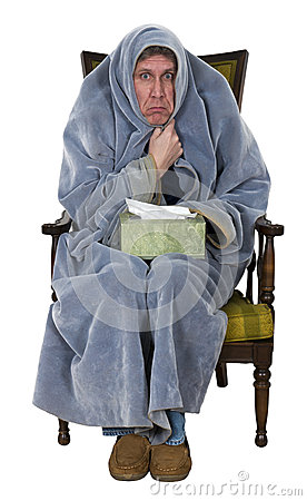 Sick Man With Cough, Cold, Flu Isolated