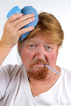 Sick man with thermometer in mouth and hot water bottle on head has ...: http://dreamstime.com/stock-photos-sick-man-flu-image22752293