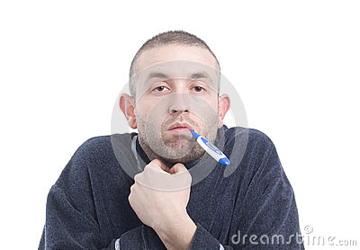 Sick man with thermometer 3