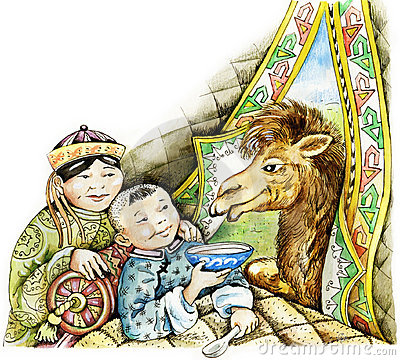 Free Sick Mongolian Boy And A Camel Royalty Free Stock Photography - 23249557
