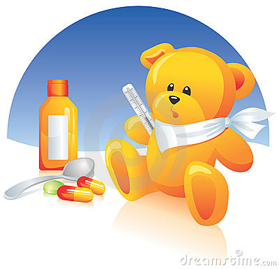 Sick Teddy bear, medicines