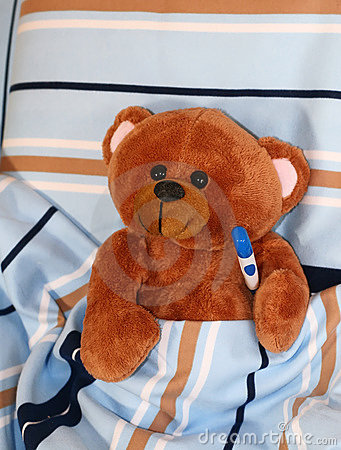 Free Sick Teddy Bear With Thermometer In Bed Royalty Free Stock Photo - 12164455