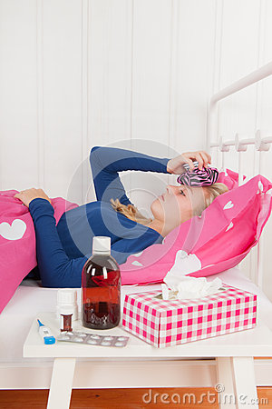 Free Sick Teenager Girl With Headache Royalty Free Stock Image - 57748276
